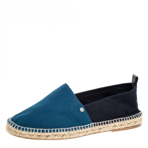 Hermes Teal/Dark Blue Colorblock Canvas Espadrilles Size 42