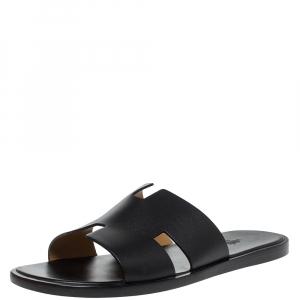 Hermes Black Leather Izmir Slide Sandals Size 45
