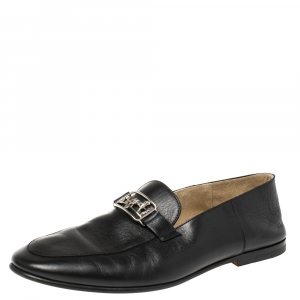 Hermes Black Leather Time Loafers Size 42