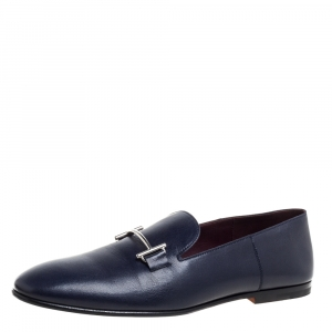 Hermes Blue Leather Saga Loafers Size 43