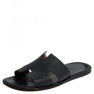 Hermes Blue Leather Izmir Sandals Size 43