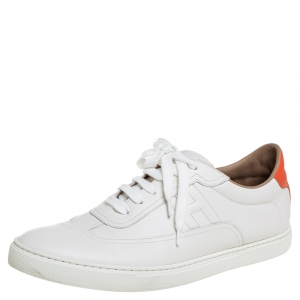 Hermes White Leather Quicker Low Top Sneakers Size 44
