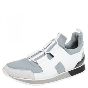 حذاء رياضي هيرميس بلاير قماش وجلد رصاصي / أبيض مقاس 42