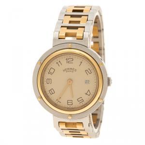 Hermes Cream Gold Tone Stainless Steel Clipper Men's Wristwatch 30 mm