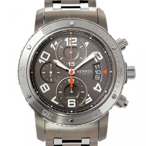 Hermes Grey Stainless Steel and Titanium Clipper Diver Men's Wristwatch 44MM