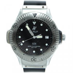 ساعة يد رجالية هوبلو MDM ستانلس ستيل أسود 37 مم