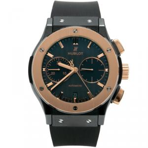 Hublot Black Ceramic & 18K Rose Gold Classic Fusion Chronograph Men's Watch 45MM