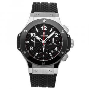 Hublot Black Stainless Steel And Ceramic Big Bang Steel Ceramic Chronograph 301.SB.131.RX Men's Wristwatch 44 MM