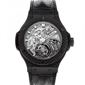 Hublot Silver Carbon Big Bang Tourbillon Minute Repeater Limited Edition 304.QX.1140.HR Men's Wristwatch 44 MM