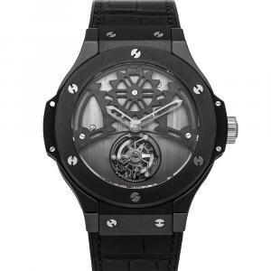 Hublot Black Ceramic Big Bang Tourbillon Limited Edition 305.CM.002.RX Men's Wristwatch 44 MM