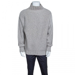 Baldessarini Hugo Boss Cream Melange Cashmere Turtle Neck Sweater XXXL