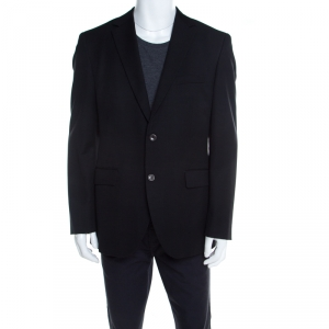 Boss By Hugo Boss Black Self Striped Wool and Mohair Segal Blazer XL