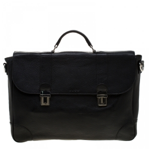 Hugo Boss Black Leather Double Lock Briefcase