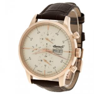Ingersoll Cream Rose Gold-Plated Steel Columbia No. 1 Limited Edition Men's Wristwatch 44MM