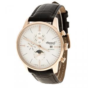 Ingersoll White Rose Gold-Plated Steel Aurora Men's Wristwatch 42MM