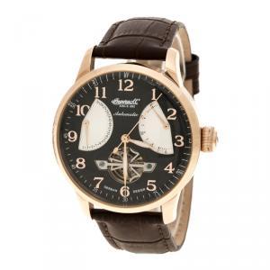 Ingersoll Black Rose Gold-Plated Steel Stetson II Men's Wristwatch 44MM