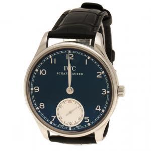 IWC Schaffhausen Blue Stainless Steel Men's Wristwatch 44 mm