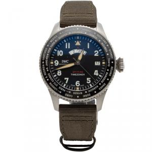 IWC Black Pilot'S Timezoner Spitfire Limited Edition 'The Longest Flight' Steel Watch 46MM