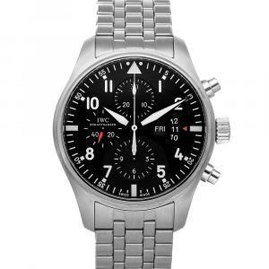 IWC Black Stainless Steel Pilot's Chronograph IW3777-04 Men's Wristwatch 43 MM