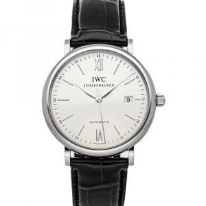IWC Silver Stainless Steel Portofino Automatic IW3565-01 Men's Wristwatch 40 MM