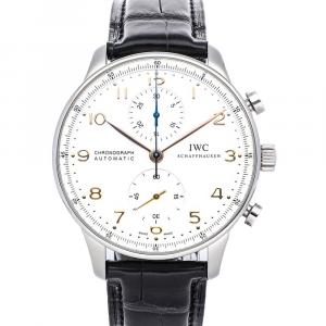 IWC Silver Stainless Steel Portuguese Chronograph IW3714-01 Men's Wristwatch 40 MM