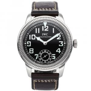 IWC Black Stainless Steel Vintage Pilot's Watch IW3254-01 Men's Wristwatch 44 MM