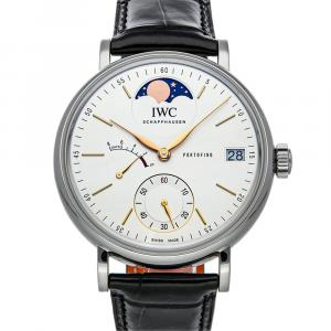 IWC Silver Stainless Steel Portofino Hand-Wound Moon Phase IW5164-01 Men's Wristwatch 45 MM