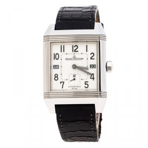 ساعة يد رجالية ياجر لي كولتر ريفيرسو سكوادرا 230.8.77 ستانلس ستيل فضيه بيضاء 35 مم