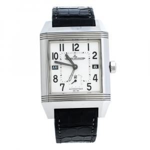ساعة يد رجالية ياجر لي كولتر ريفيرسو سكوادرا 230.8.77 ستانلس ستيل بيضاء فضية 35 مم