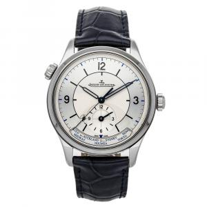 Jaeger LeCoultre Silver Stainless Steel Master Geographic Q1428530 Men's Wristwatch 39 MM