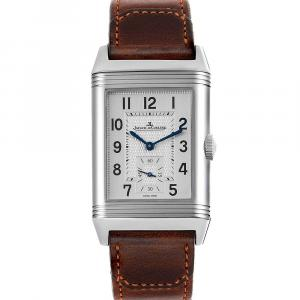 Jaeger LeCoultre Silver Stainless Steel Reverso Duo Day Night 215.8.D4 Q3848420 Men's Wristwatch 47 x 28 MM