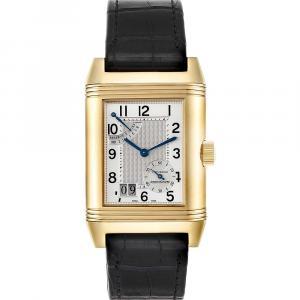 Jaeger LeCoultre Silver 18K Yellow Gold Reverso Grande Date 240.1.15 Q3001420 Men's Wristwatch 47 x 29 MM