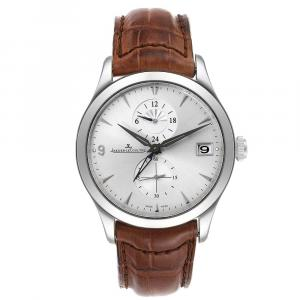Jaeger Lecoultre Silver Stainless Steel Master Dual Time Automatic 174.8.05.S Q1628430 Men's Wristwatch 40 MM