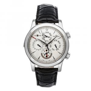 Jaeger LeCoultre Silver Stainless Steel Master Grande Reveil Perpetual Calendar Moon Phase Q163842A Men's Wristwatch 43 MM