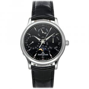 Jaeger LeCoultre Black Stainless Steel Master Perpetual Q149847A Men's Wristwatch 37 MM