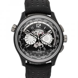 Jaeger LeCoultre Black Ceramic And Titanium Amvox5 World Chronograph Limited Edition Q193J471 Men's Wristwatch 44 MM