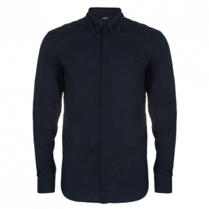 Jean Paul Gaultier Mens Laser Cut Collar Black Shirt L