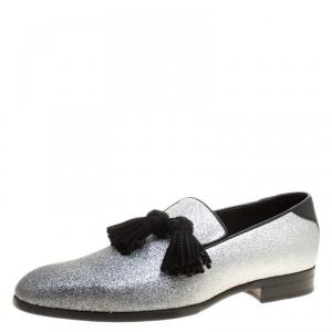 Jimmy Choo Metallic Silver Glitter Foxley Tassel Loafers Size 43
