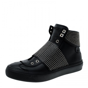 Jimmy Choo Black Studded Leather Archie High Top Sneakers Size 42