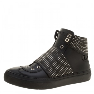 Jimmy Choo Black Studded Leather Archie High Top Sneakers Size 40.5