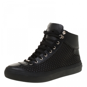 Jimmy Choo Black Leather Argyle Rubber Star Studded High Top Sneakers Size 42.5