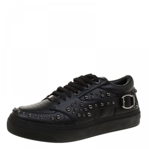 Jimmy Choo Black Studded Leather Roman Sneakers Size 43