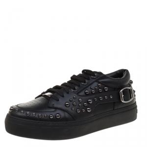 Jimmy Choo Black Studded Leather Roman Sneakers Size 44