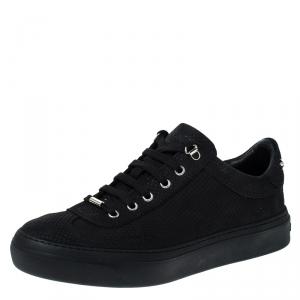 Jimmy Choo Black Nubuck Leather Ace Low Top Sneakers Size 42.5
