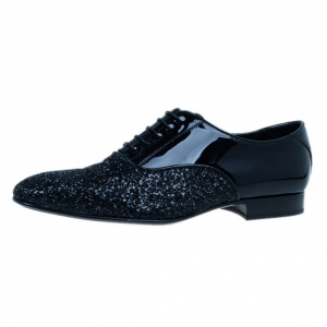 Jimmy Choo Black Patent Glitter Barker Oxfords Size 43