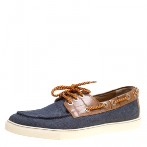 Jimmy Choo Blue Canvas and Brown Croc Embossed Leather Cheyne Boat Loafers Size 44