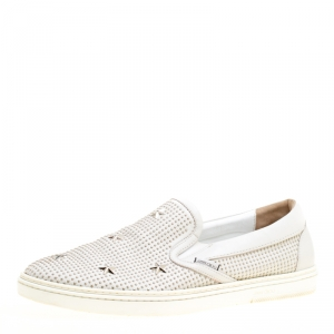 Jimmy Choo Light Grey Leather Grove Star Studded Slip On Sneakers Size 44