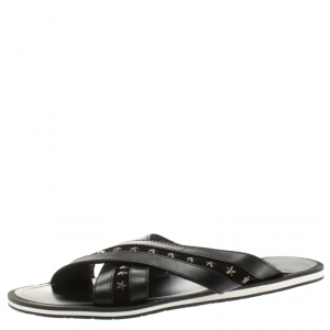 Jimmy Choo Black Leather And Suede Wally Star Embellished Cross Strap Slides Size 44.5