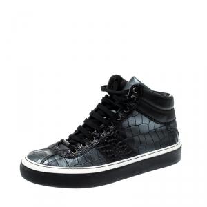 Jimmy Choo Black Metallic Crocodile Embossed Leather Belgravia High Top Sneakers Size 42.5