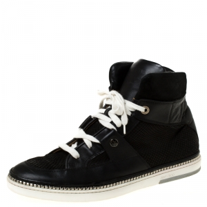 Jimmy Choo Black Snakeskin Embossed Leather and Suede Lace Up High Top Sneakers Size 44